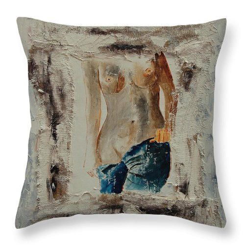 Girl Throw Pillow featuring the painting Nude 674521 by Pol Ledent