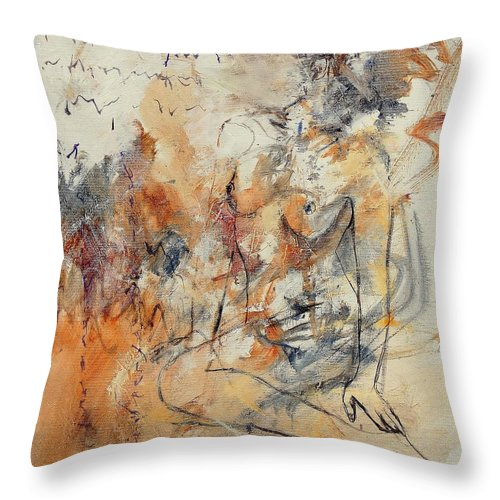 Girl Throw Pillow featuring the painting Nude 679070 by Pol Ledent