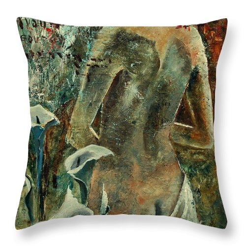 Girl Throw Pillow featuring the painting Nude And Arums by Pol Ledent