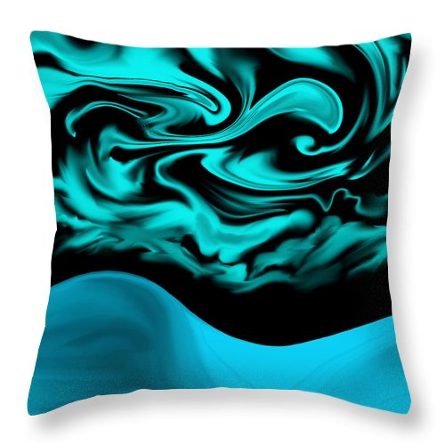 Art Throw Pillow featuring the digital art Nude Blue Female Under Abstract Sky by Abstract Angel Artist Stephen K