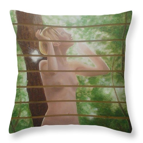 Realistic Throw Pillow featuring the painting Nude Forest by Angel Ortiz