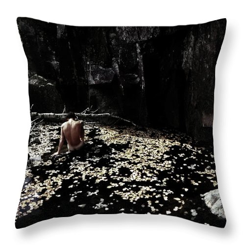 Leaves Throw Pillow featuring the photograph Nude In Monochrome Leaf Pool by Wayne King