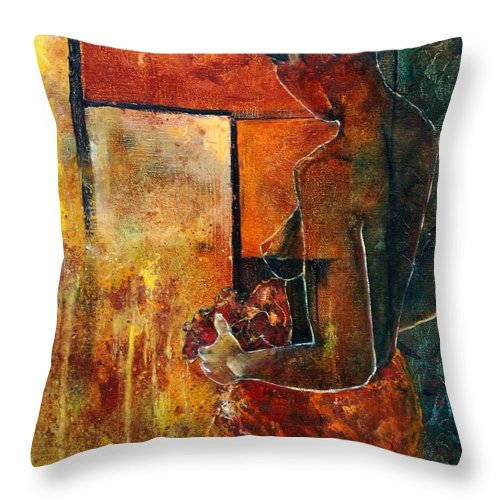 Woman Girl Fashion Nude Throw Pillow featuring the painting Nude by Pol Ledent