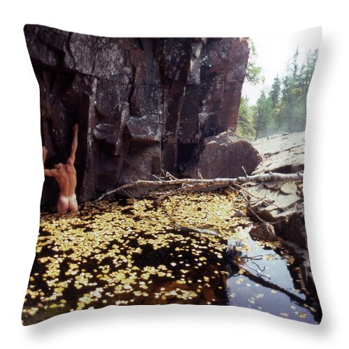 Leaves Throw Pillow featuring the photograph Nude Standing In A Leaf Pool by Wayne King