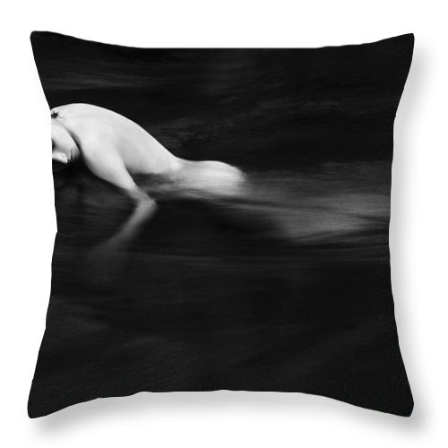 Abstract Throw Pillow featuring the painting Nude Woman In River by Monica and Michael Sweet - Printscapes