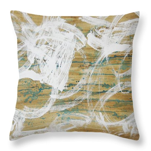 Abstract Throw Pillow featuring the painting Nuevo Colores by Lauren Luna