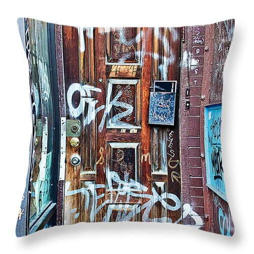 Grafitti Throw Pillow featuring the photograph Number 424 by Linda McRae