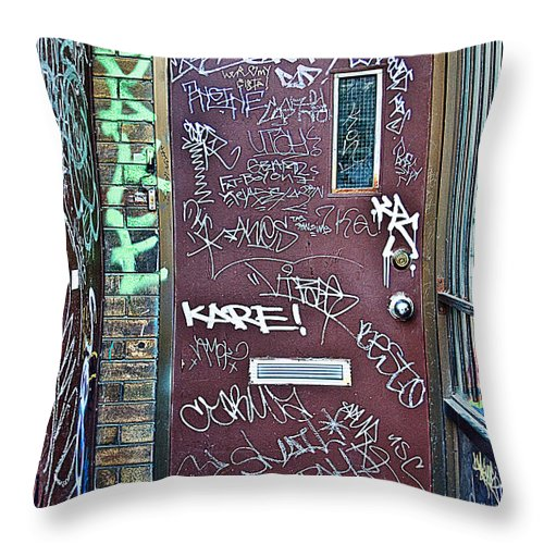 Grafitti Throw Pillow featuring the photograph Number 426a by Linda McRae