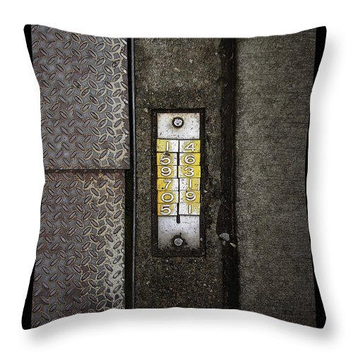 Numbers Throw Pillow featuring the photograph Numbers On The Sidewalk by Tim Nyberg