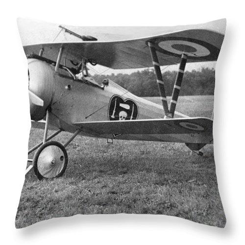 Nieuport Throw Pillow featuring the photograph Nungesser's Nieuport 17 by Lin Grosvenor