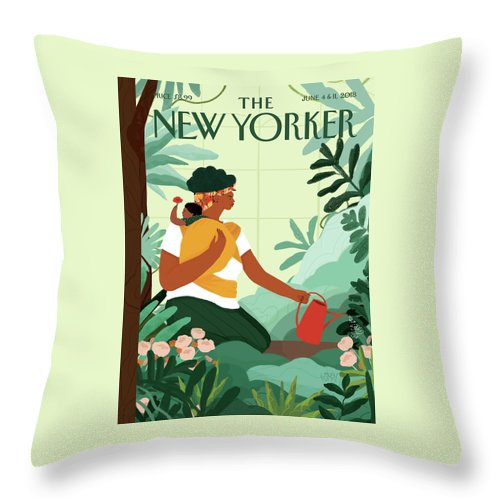 Nurture Throw Pillow featuring the painting Nurture by Loveis Wise
