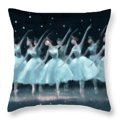 Ballet Throw Pillow featuring the painting Nutcracker Ballet Waltz of the Snowflakes by Beverly Brown