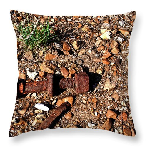 Rusted Throw Pillow featuring the photograph Nuts And Bolts Rusted by Douglas Barnett