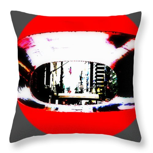 Manhattan Throw Pillow featuring the photograph Ny 57th Street Fisheye by Funkpix Photo Hunter