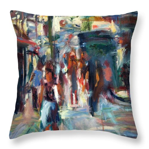 Dornberg Throw Pillow featuring the painting Ny City People by Bob Dornberg
