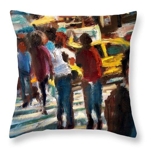 Dornberg Throw Pillow featuring the painting Ny Cross Walk by Bob Dornberg