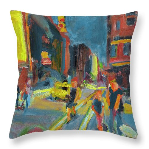 Dornberg Throw Pillow featuring the painting Ny Intersection by Bob Dornberg