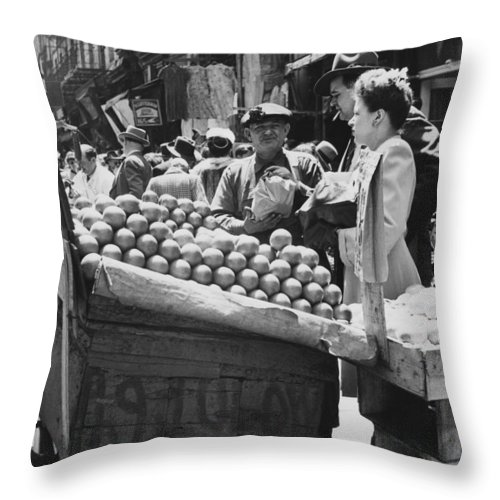 1940's Throw Pillow featuring the photograph Ny Push Cart Vendors by Underwood Archives