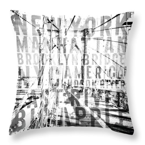 Art Throw Pillow featuring the photograph Nyc Brooklyn Bridge Typography No2 by Melanie Viola