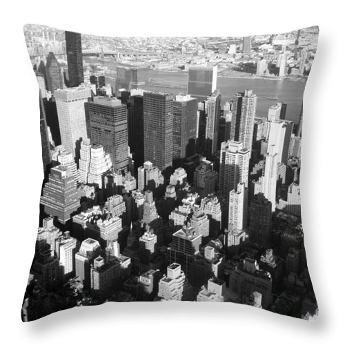 Nyc Throw Pillow featuring the photograph Nyc Bw by Anita Burgermeister