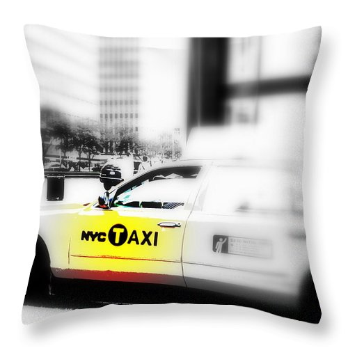 America Throw Pillow featuring the photograph Nyc Cab by Funkpix Photo Hunter