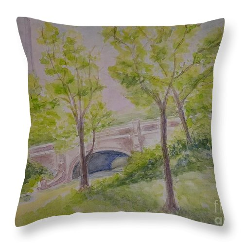 Summer Landscape Throw Pillow featuring the painting Nyc Central Park. Spring by Olga Malamud-Pavlovich