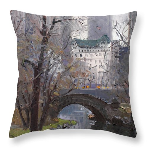 New York City Throw Pillow featuring the painting Nyc Central Park by Ylli Haruni