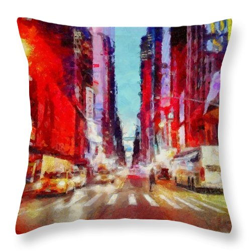 Nyc Throw Pillow featuring the photograph Nyc Fifth Ave by Janine Riley