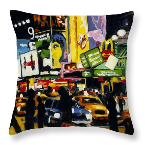 New York Throw Pillow featuring the painting Nyc II The Temple Of M by Robert Reeves