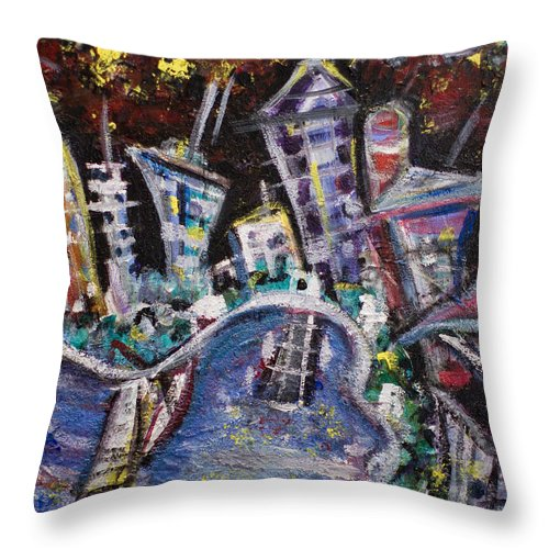 New York City Manhattan Hudson River Throw Pillow featuring the painting Nyc Impressions 2 by Jason Gluskin
