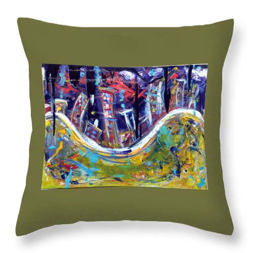 New York City Manhattan Hudson River Throw Pillow featuring the painting Nyc Impressions 4 by Jason Gluskin