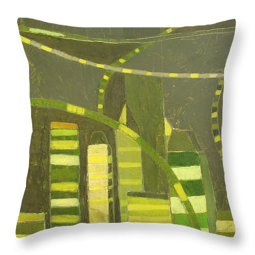 Local Nyc Cityscape Painting Throw Pillow featuring the painting Nyc In Deep Green by Habib Ayat