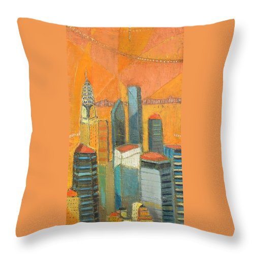 Throw Pillow featuring the painting Nyc In Orange by Habib Ayat