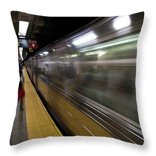 Broadway Throw Pillow featuring the photograph Nyc Subway by Sebastian Musial