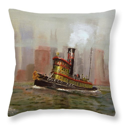 Tug Throw Pillow featuring the painting Nyc Tug by Christopher Jenkins