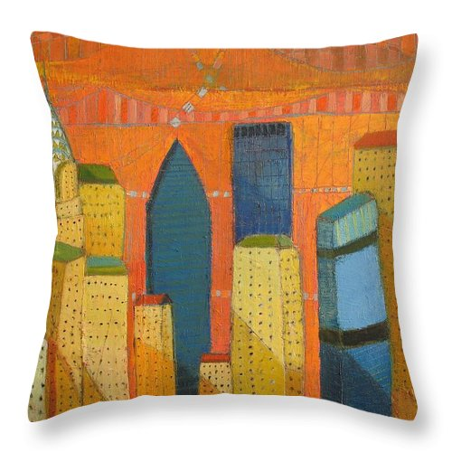 Abstract Cityscape Throw Pillow featuring the painting Nyc With Chrysler by Habib Ayat