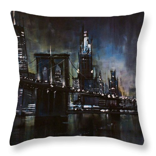 Cityscape Throw Pillow featuring the painting N.y.city by Michael Lang