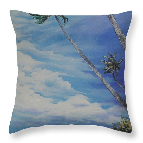 Trinidad And Tobago Seascape Throw Pillow featuring the painting Nylon Pool Tobago. by Karin Dawn Kelshall- Best