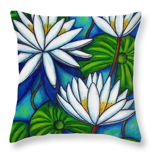 Lily Throw Pillow featuring the painting Nymphaea Blue by Lisa Lorenz