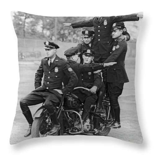 1930's Throw Pillow featuring the photograph Nypd Motorcycle Stunts by Underwood Archives