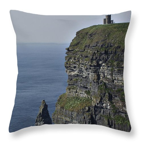 Irish Throw Pillow featuring the photograph O Brien's Tower At The Cliffs Of Moher Ireland by Teresa Mucha