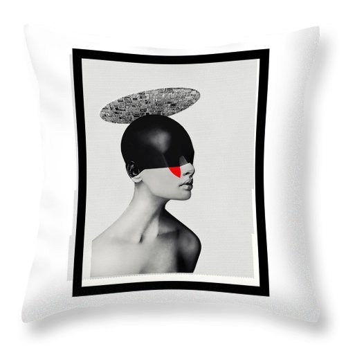 Helo Throw Pillow featuring the mixed media O. by Gabor Paszti