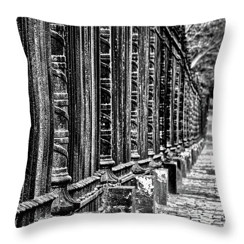 Fence Throw Pillow featuring the photograph Oak Hill Cemetery Fence by Stuart Litoff