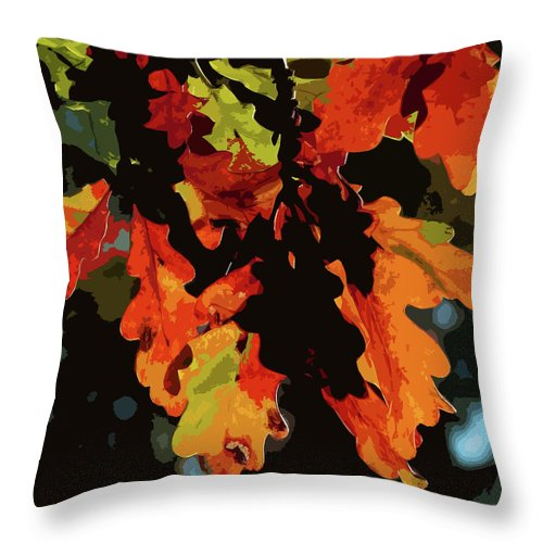 Oak Leaves Throw Pillow featuring the photograph Oak Leaves In Autumn by James Hill