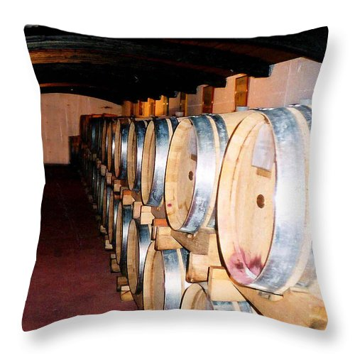 Wine Throw Pillow featuring the photograph Oak Red Wine Barrels by Donna Proctor
