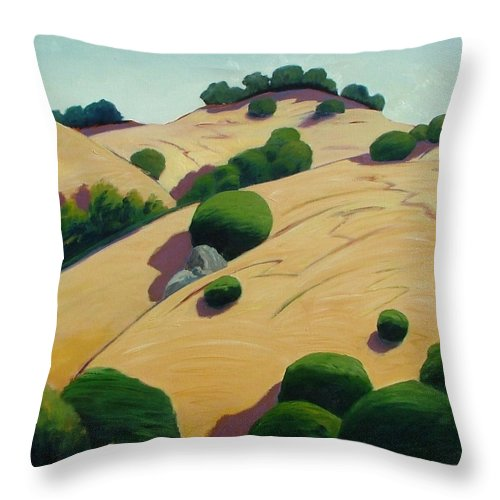 Rolling Hills Throw Pillow featuring the painting Oak Topped by Gary Coleman