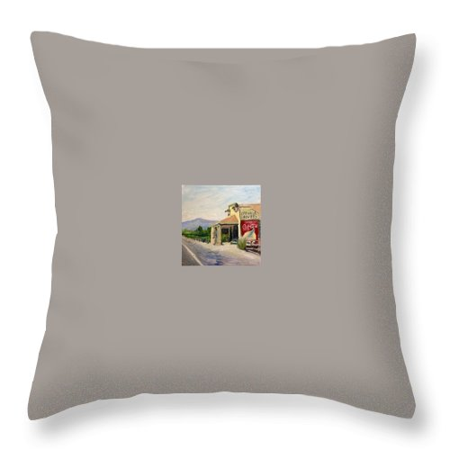 Oakville Grocery Throw Pillow featuring the painting Oakville Crossroads by Wyn Ericson