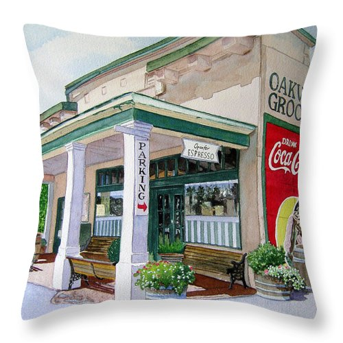 Cityscape Throw Pillow featuring the painting Oakville Grocery by Gail Chandler