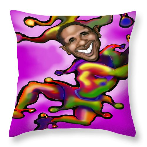 Obama Throw Pillow featuring the digital art Obama Jester by Kevin Middleton