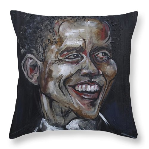 Barack Obama Throw Pillow featuring the painting Obama by Julie Fischer